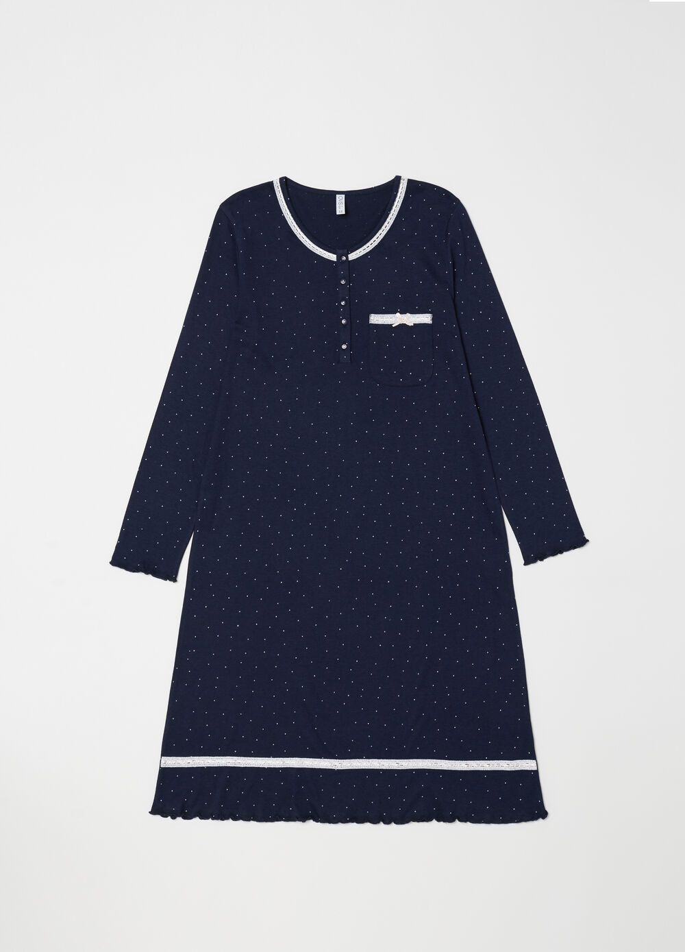 Nightshirt with polka dot satin trims