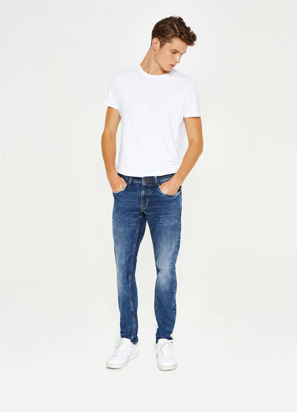 Slim-fit, worn-effect, stretch jeans with whiskering