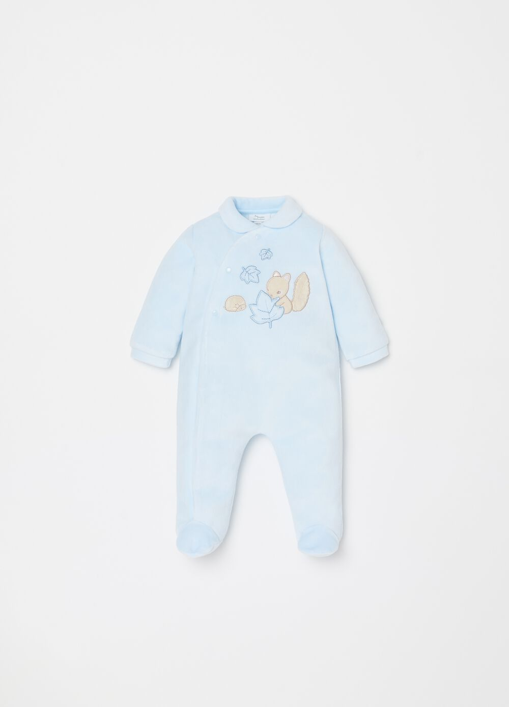 Onesie with feet and squirrel embroidery