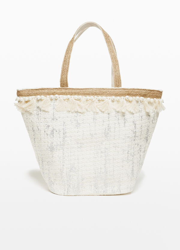 Cotton beach bag with lurex and tassels