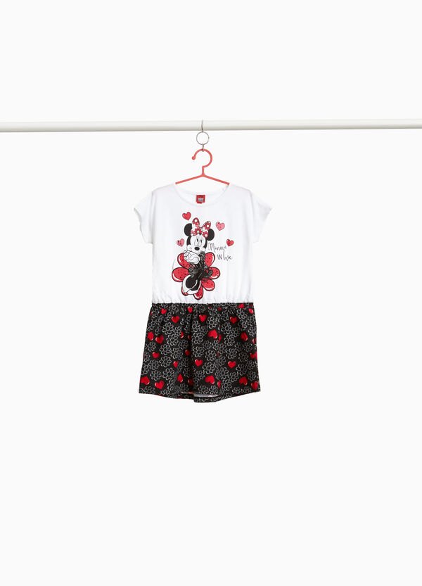 Stretch dress with Minnie Mouse floral hearts