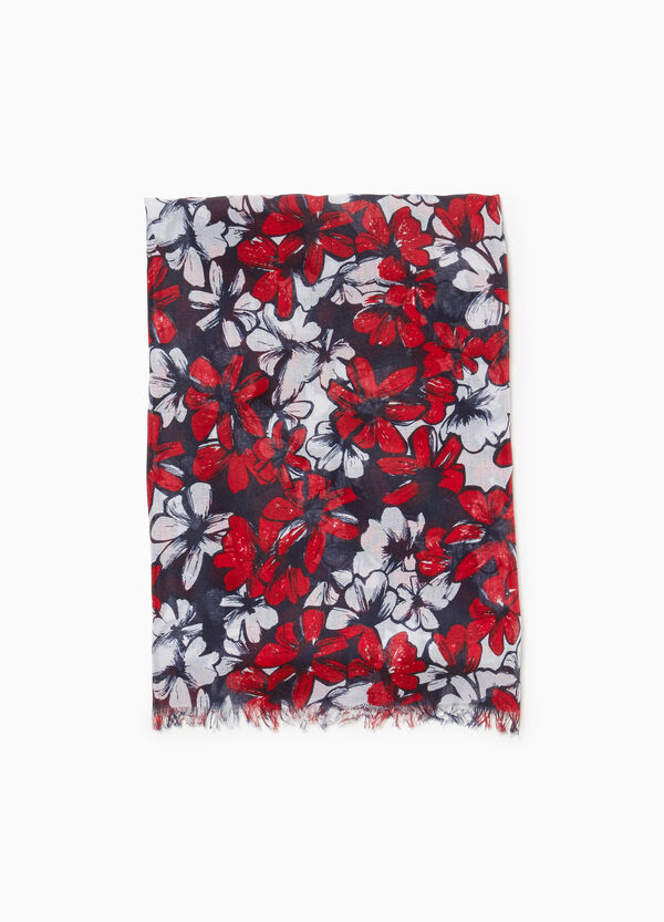 Floral scarf with fringing
