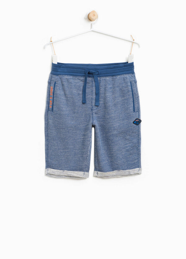 100% cotton Bermuda shorts with lettering embroidery