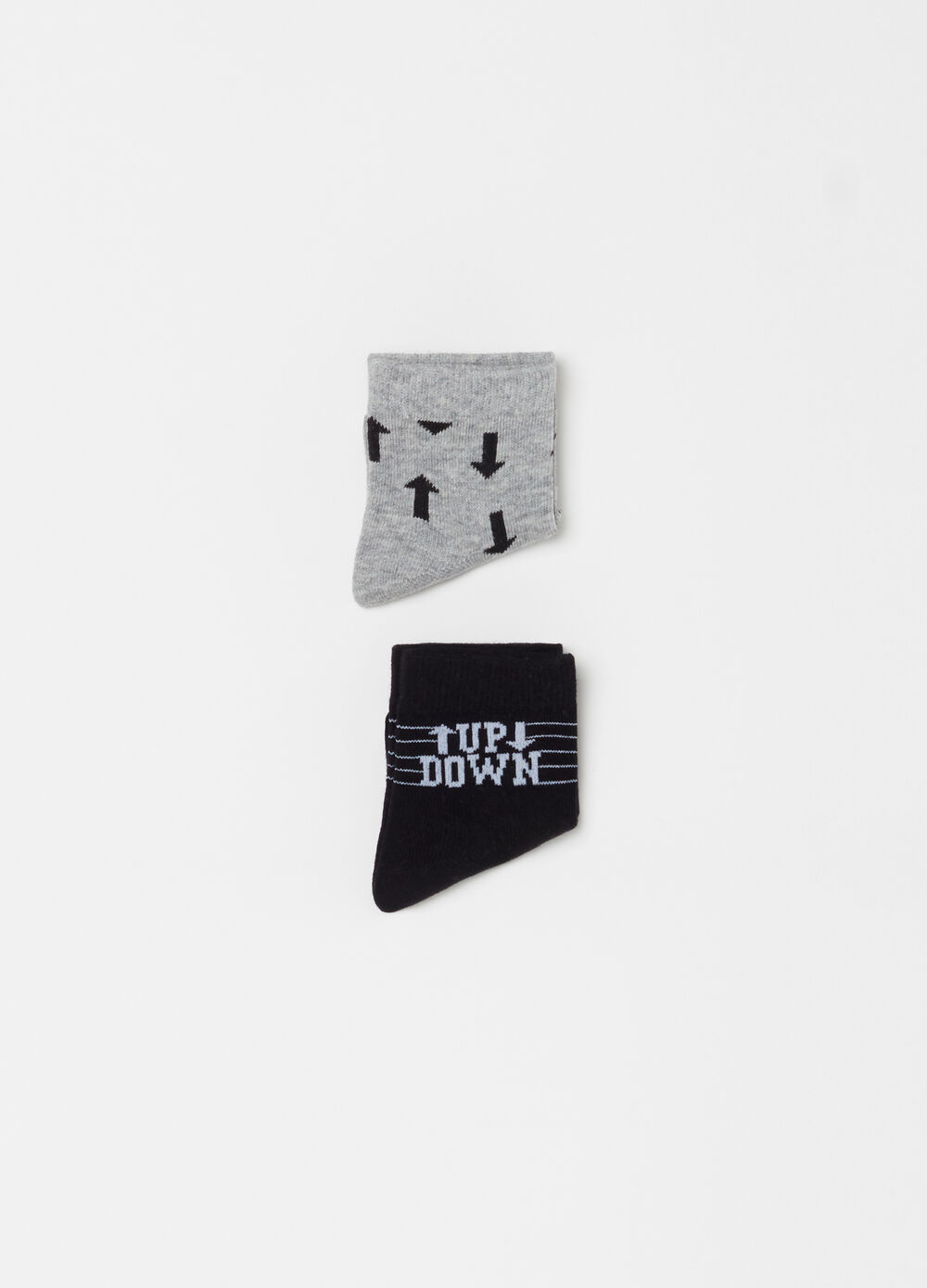 Two-pair pack printed and patterned socks