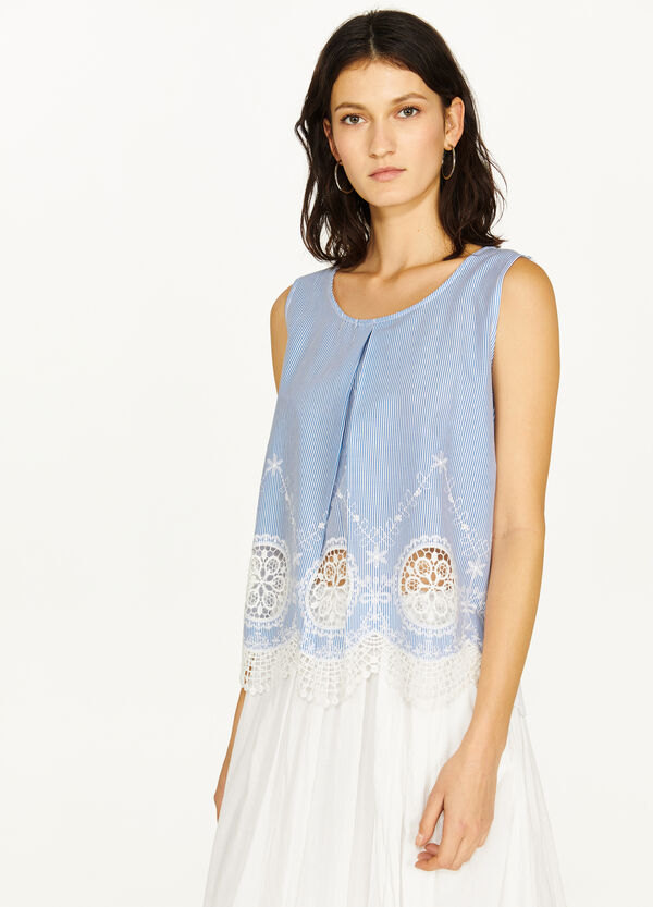 100% viscose top with striped embroidery