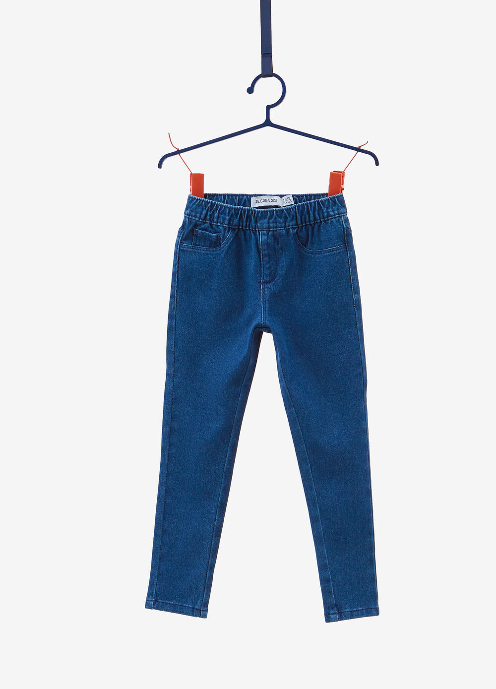 Solid colour jeans-fit stretch jeggings