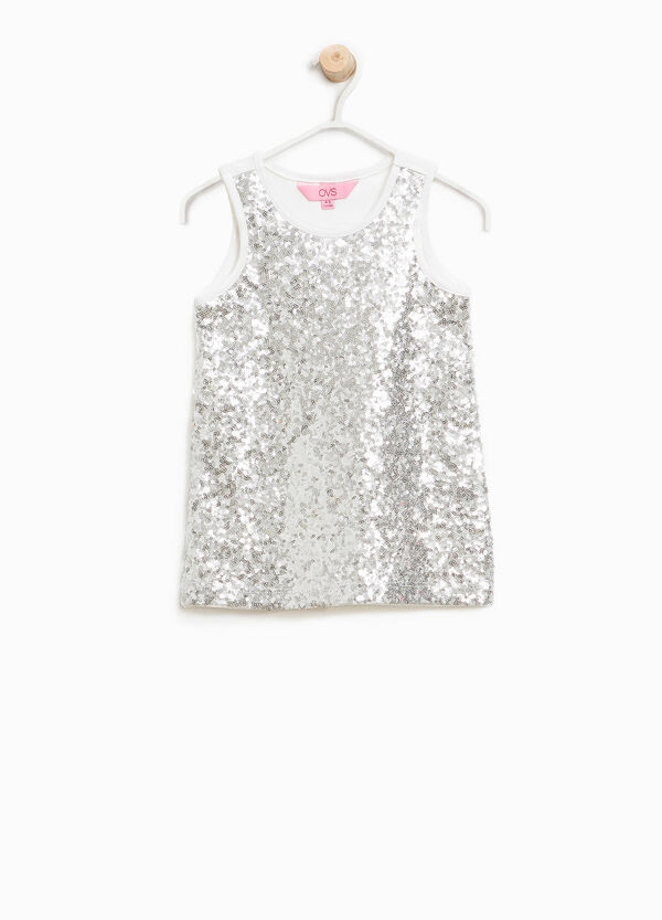 Cotton top with sequins | OVS