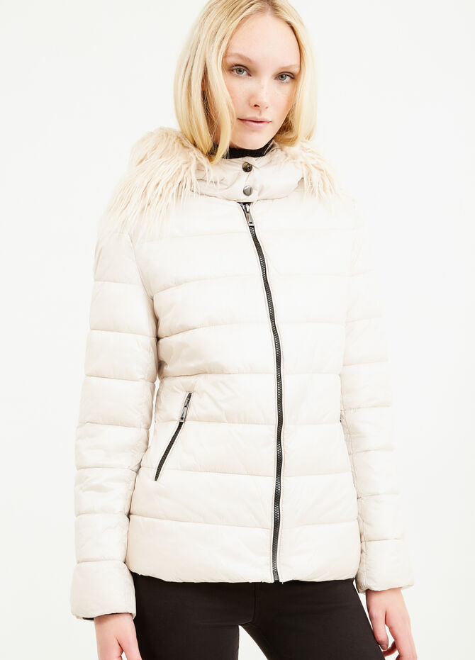 Down jacket with hood and fur