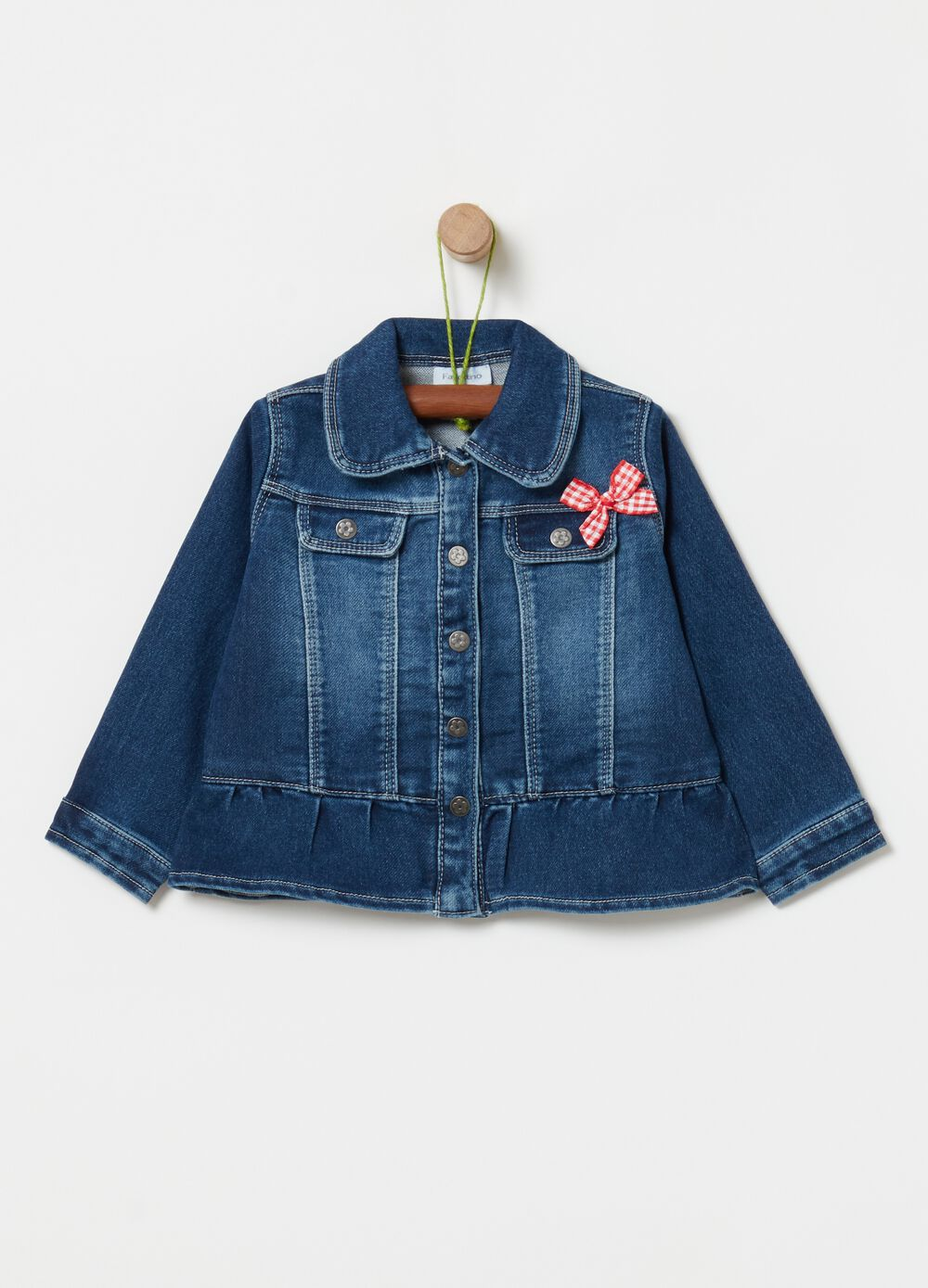 Denim jacket with bow