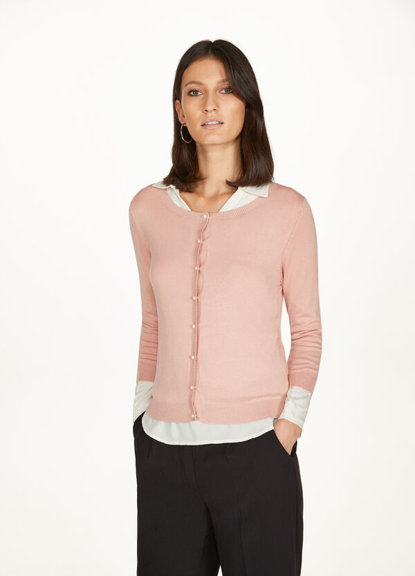 Viscose blend cardigan with three-quarter sleeves