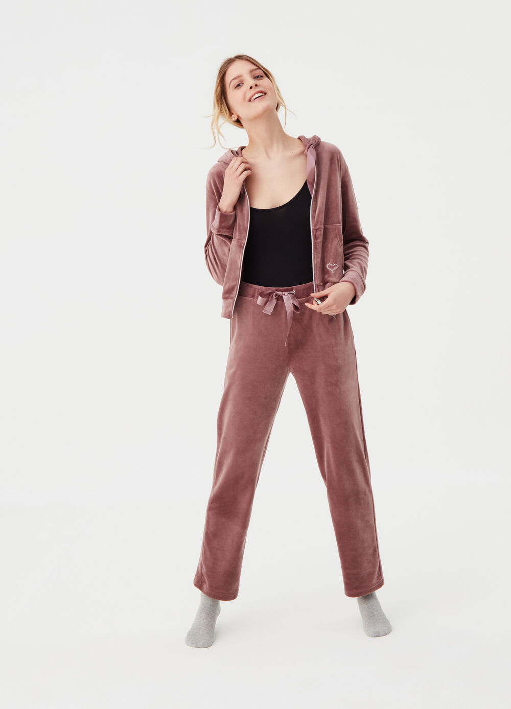 Stretch chenille homewear trousers