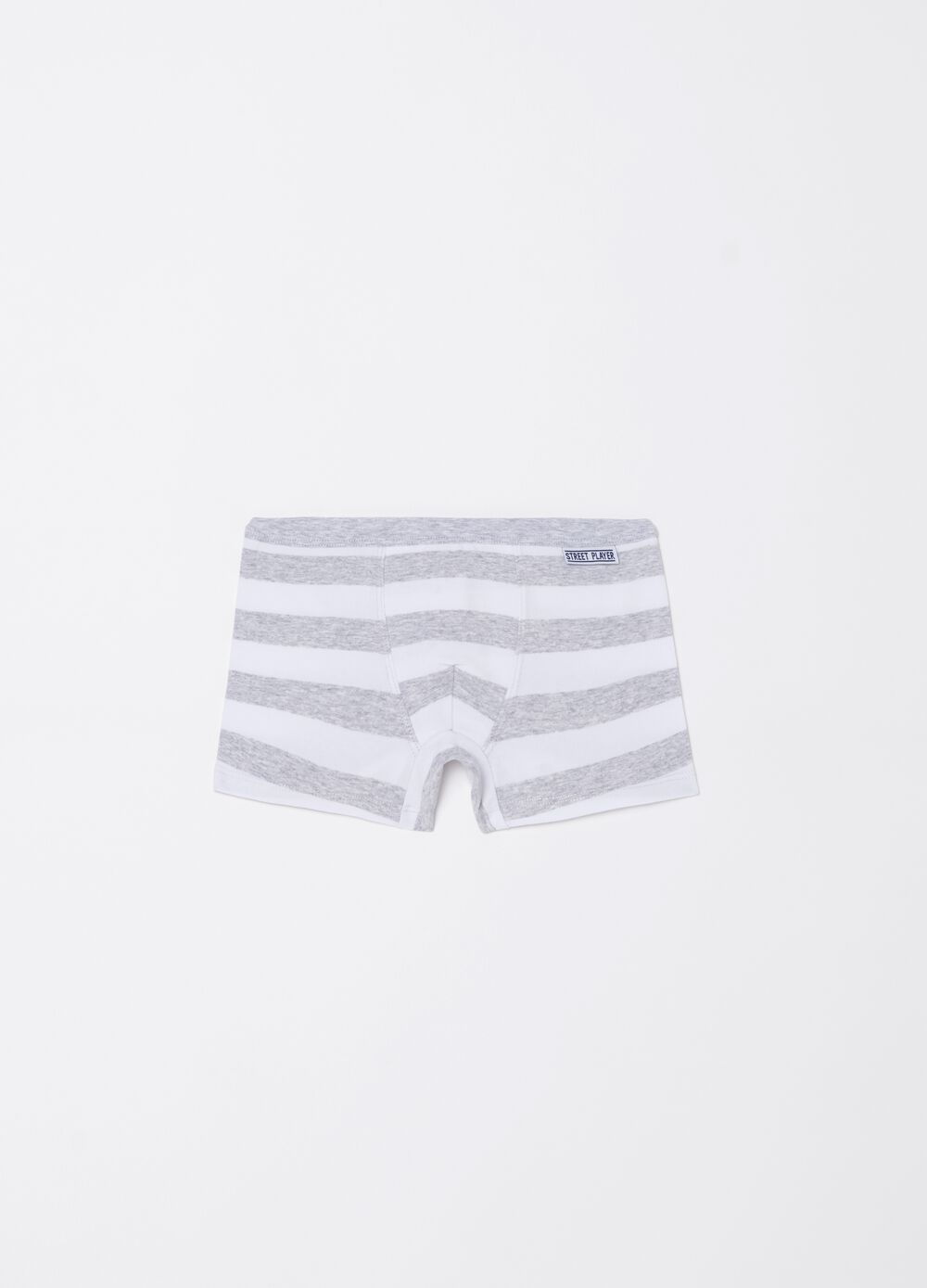 Stretch Biocotton boxer shorts with striped pattern