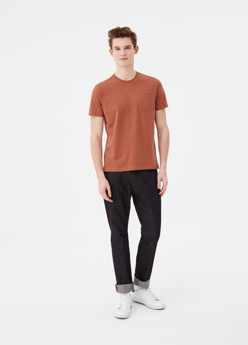 Compact cotton T-shirt with pocket