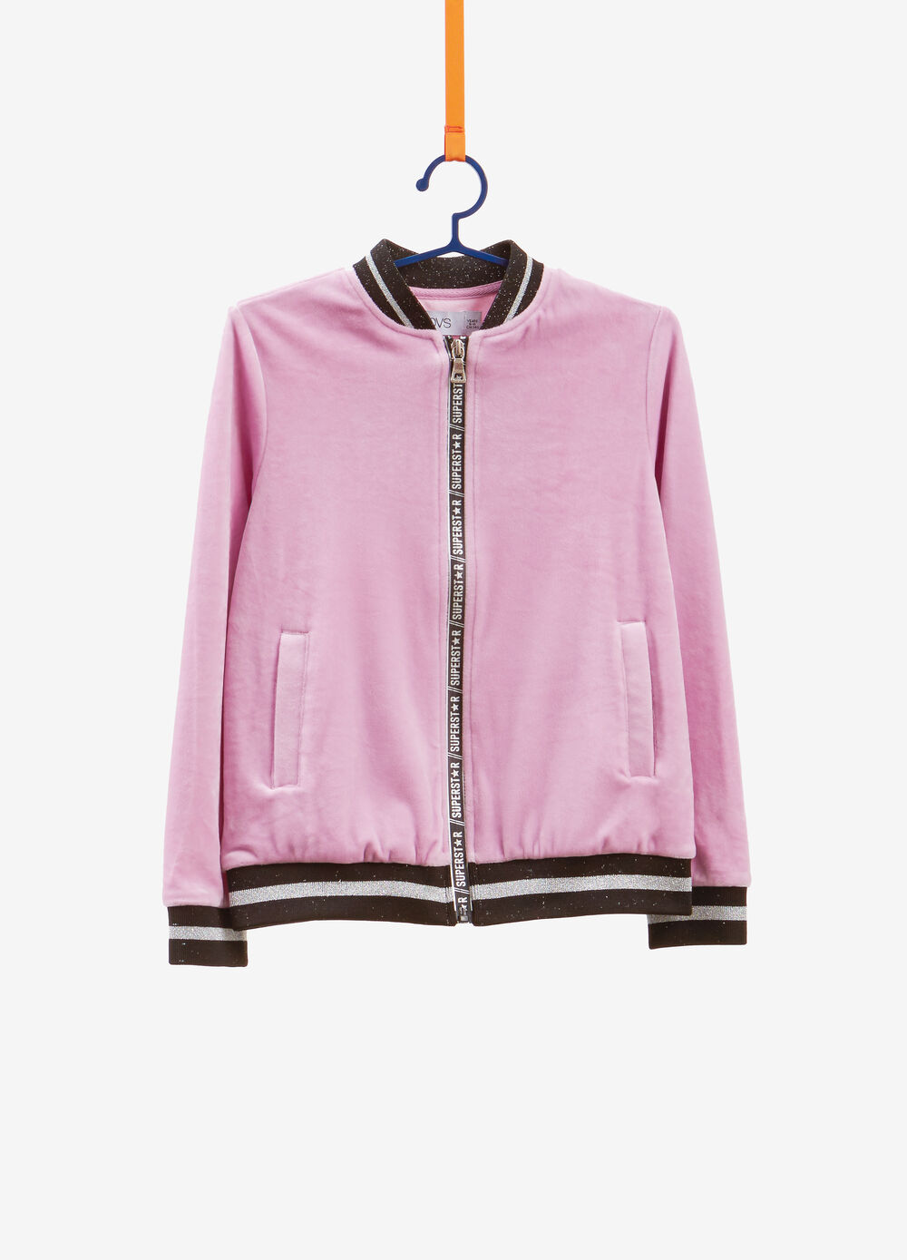 Stretch bomber jacket with glitter ribbing