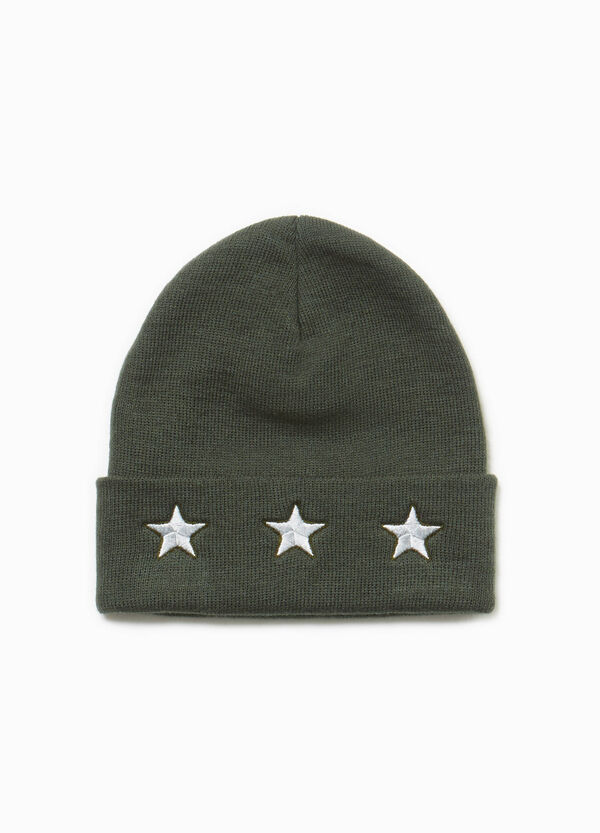 Beanie cap with stars embroidery