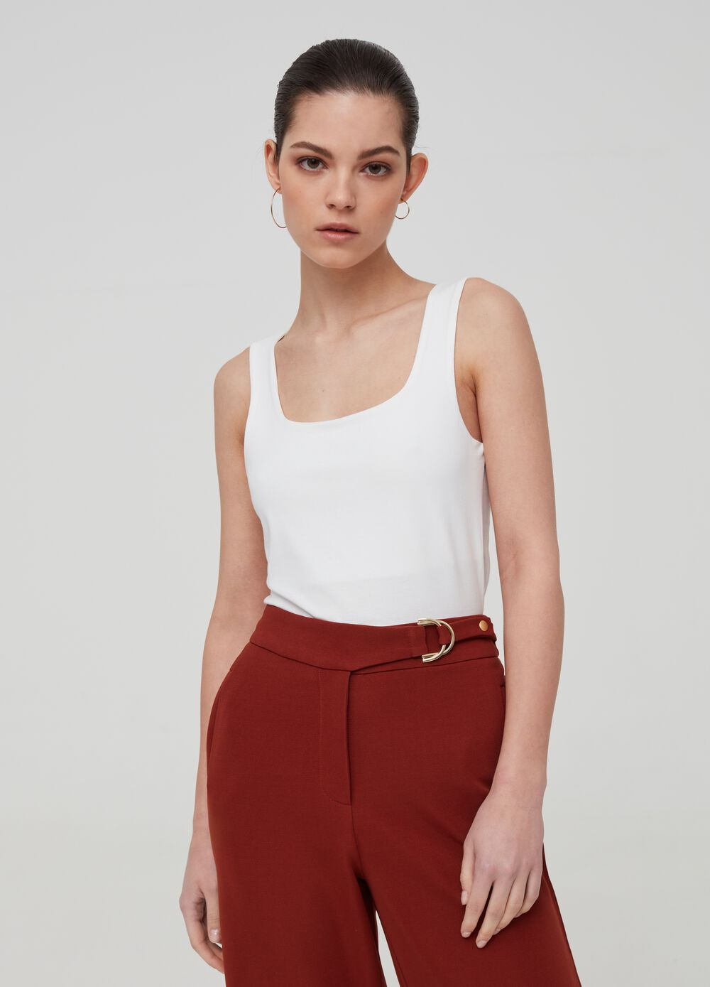 Solid colour stretch cotton tank top