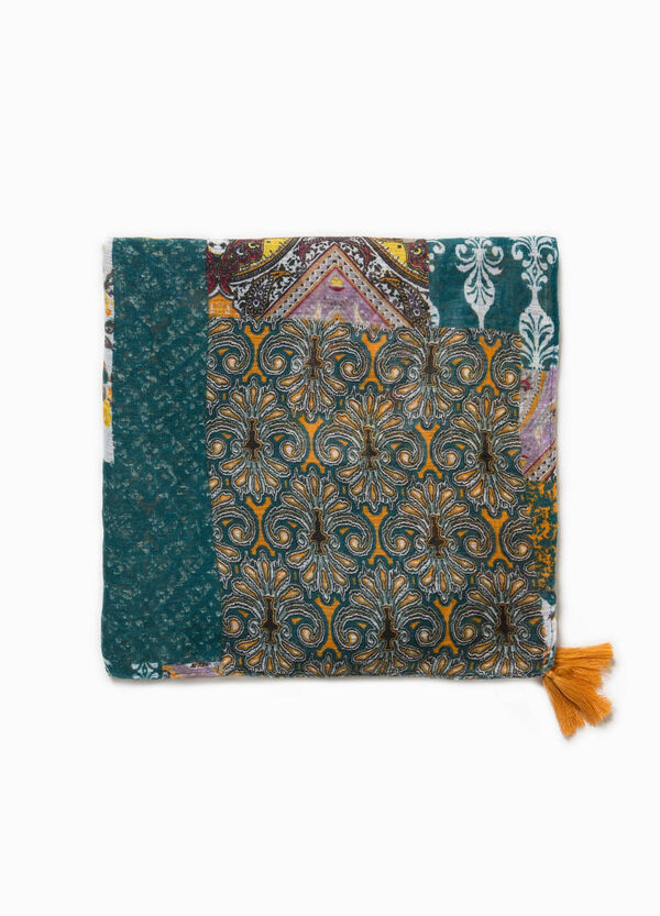 Patterned keffiyeh scarf with tassels | OVS