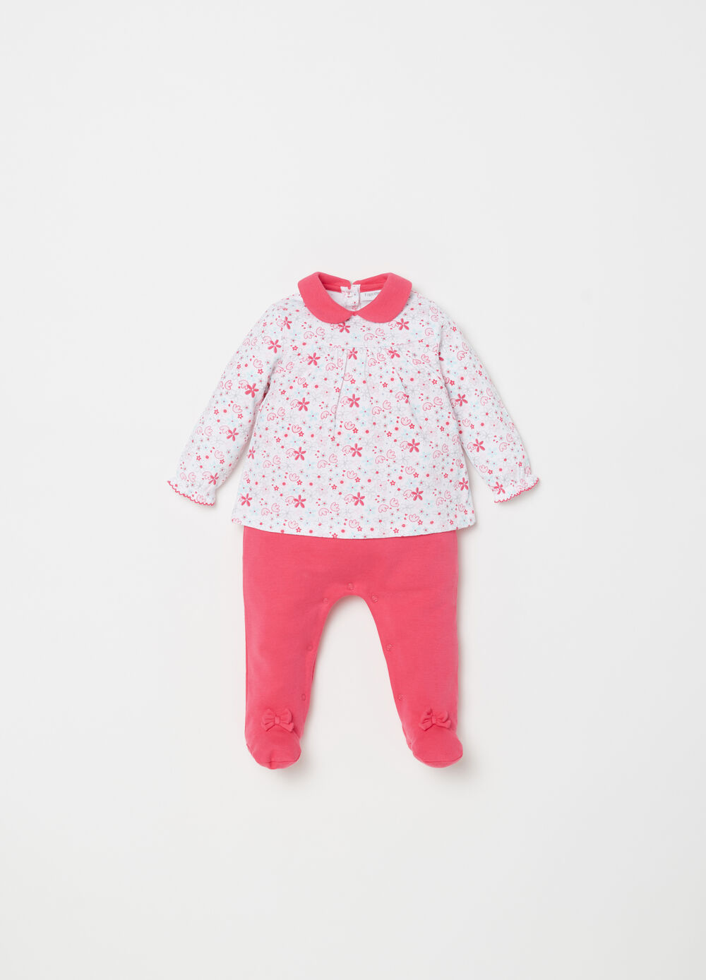 Onesie with feet, pattern and bow