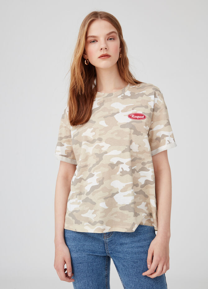 Biocotton T-shirt with Earth Day camouflage