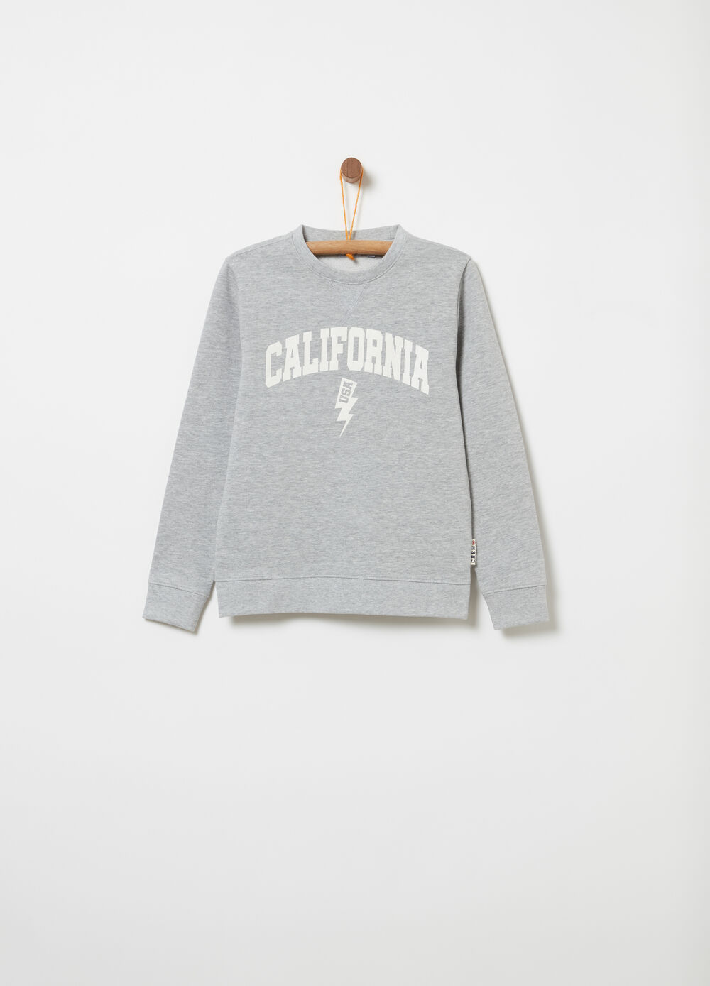 French terry sweatshirt with round neck and print