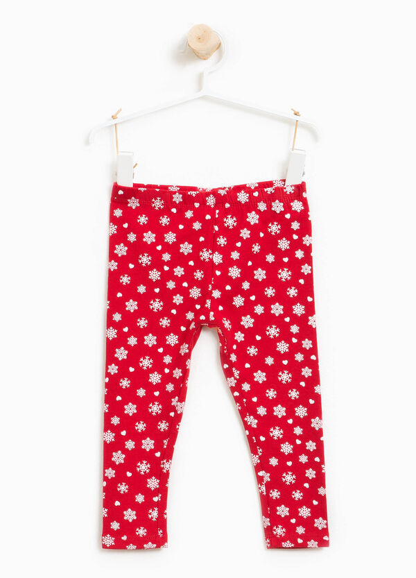 Stretch cotton leggings with Christmas print | OVS
