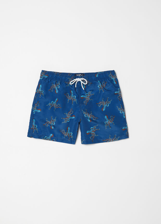 Beach shorts with drawstring and octopus pattern