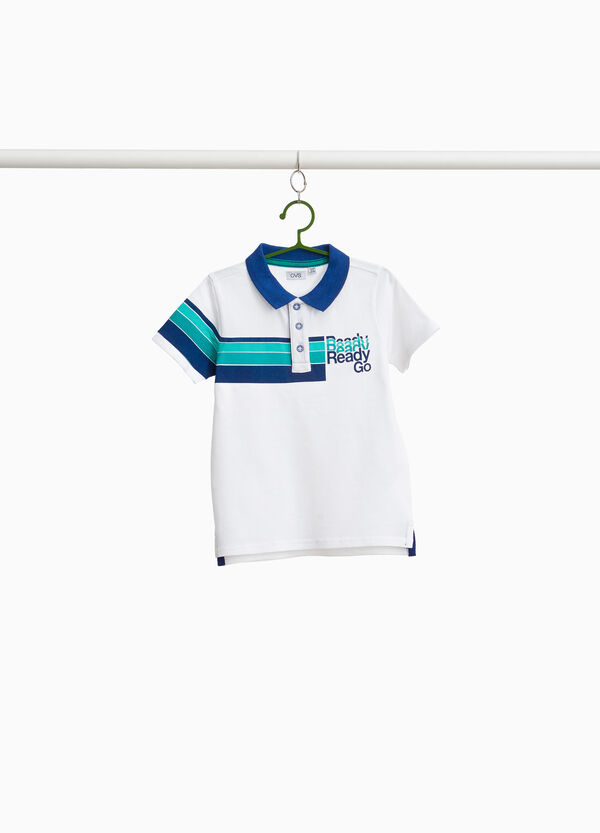100% cotton polo shirt with striped print