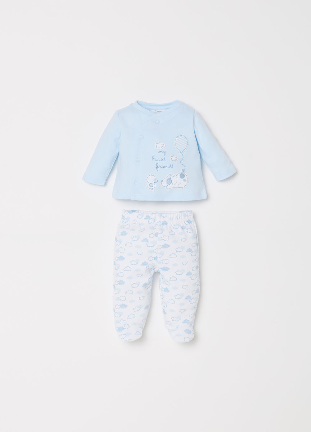 Animals and clouds T-shirt and baby leggings set