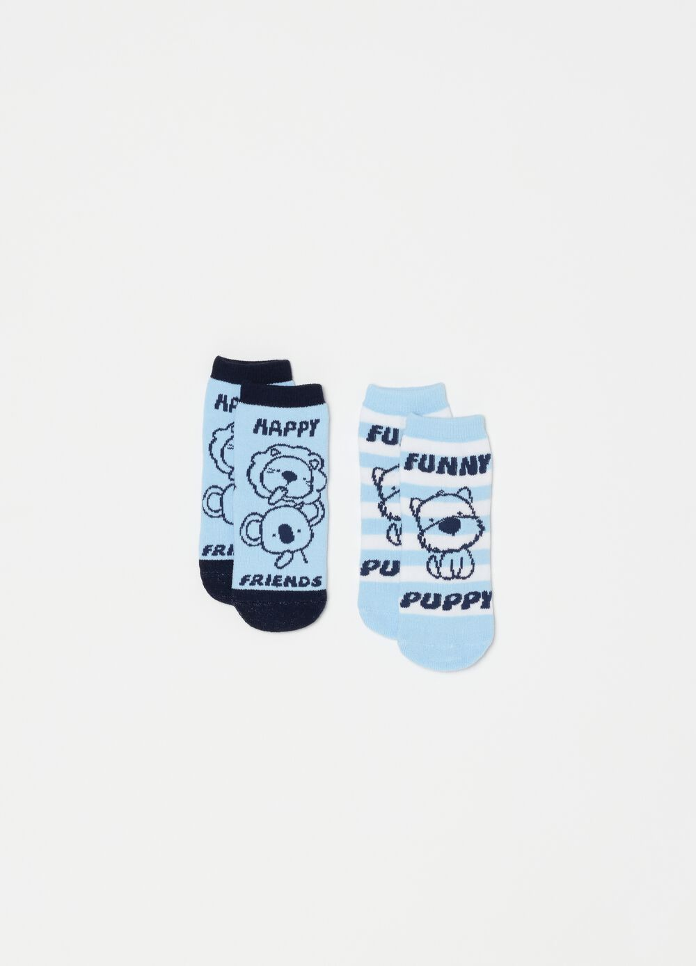Two-pair pack striped slipper socks