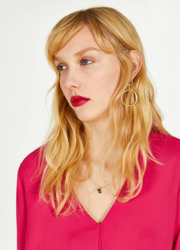 Crêpe blouse with asymmetric hem