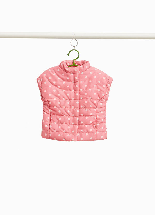 Padded gilet with polka dot print