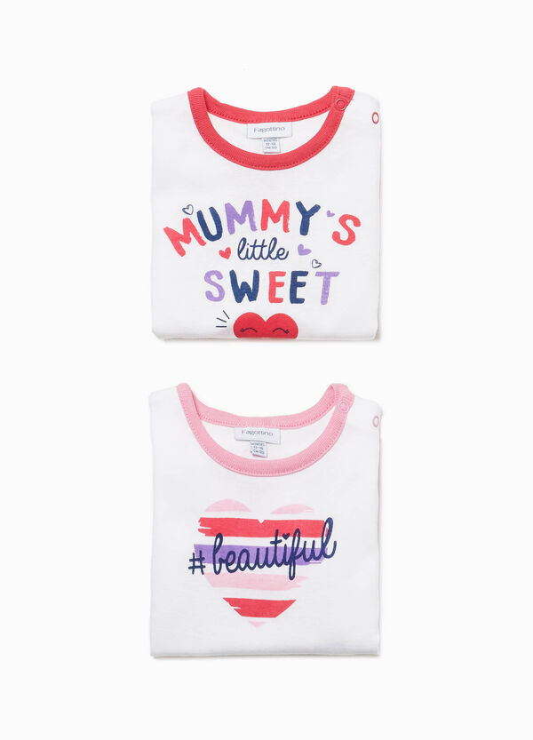 Two-pack cotton bodysuits with lettering print