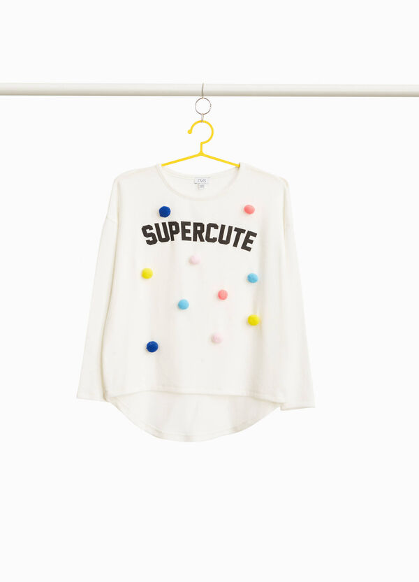 Printed lettering sweatshirt with pompoms