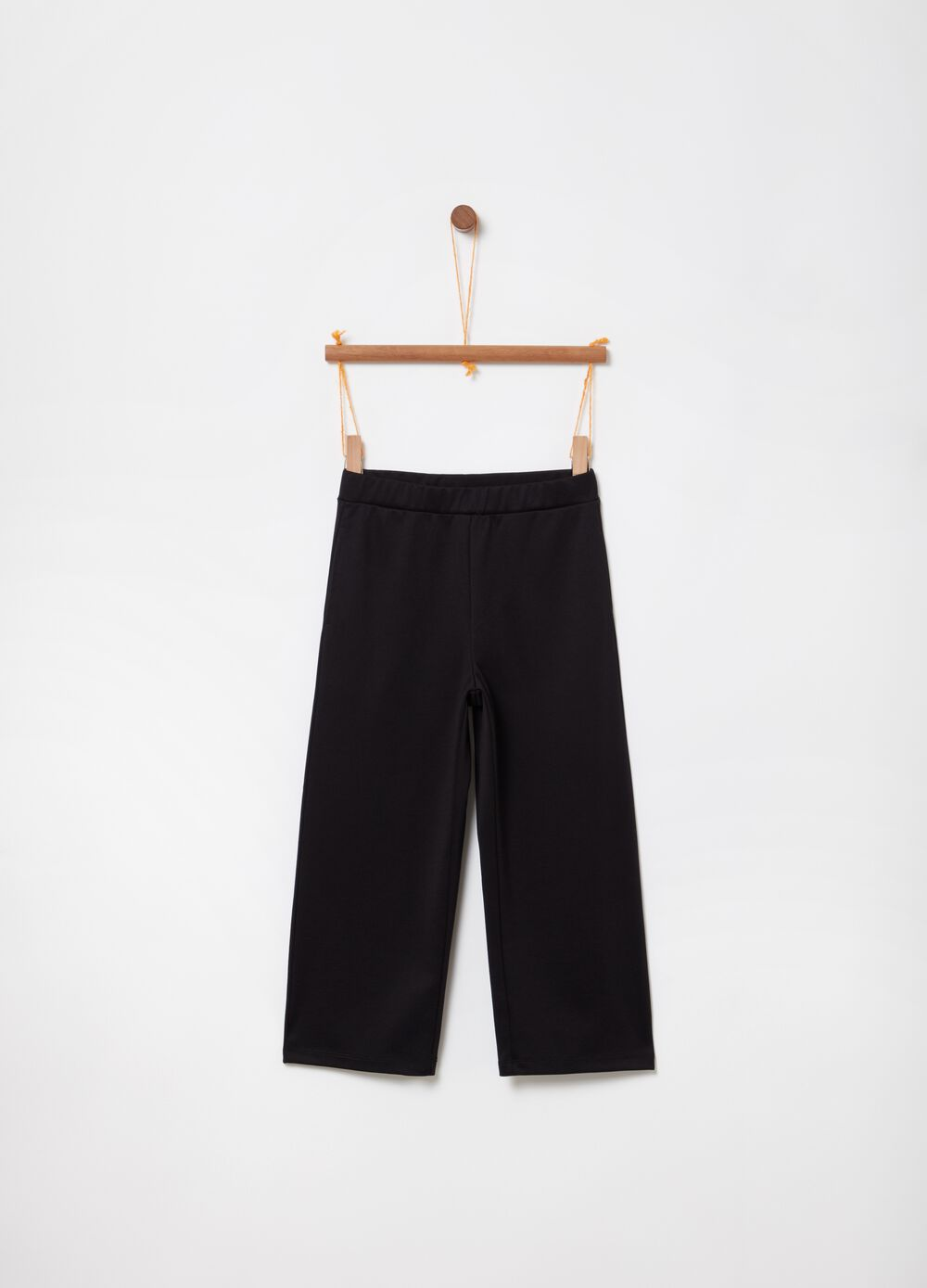 Stretch crop trousers with elastic waistband