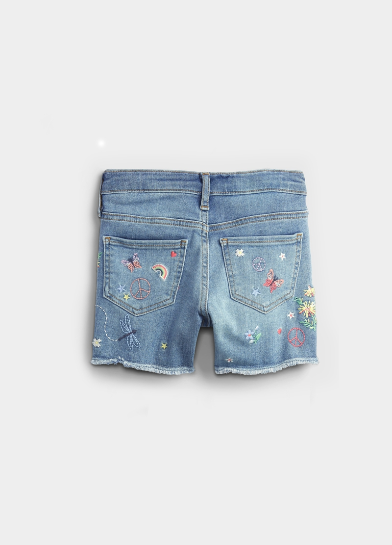 GAP denim shorts with embroidery image number null