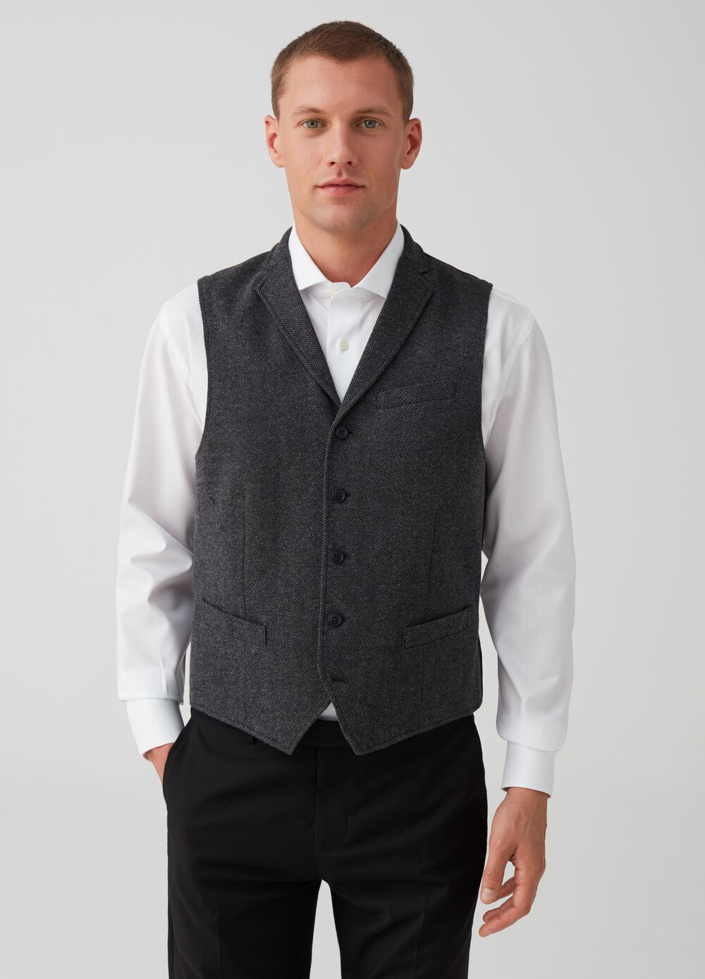Gilet with five-button lapels