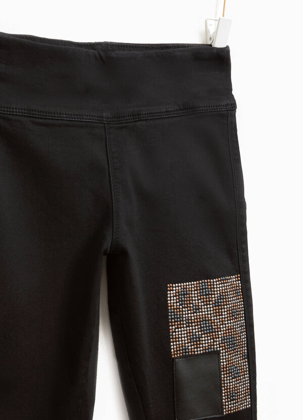 Jeggings stretch con strass