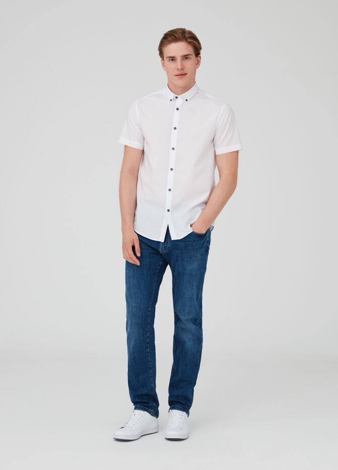 Shirt with button-down collar and short sleeves