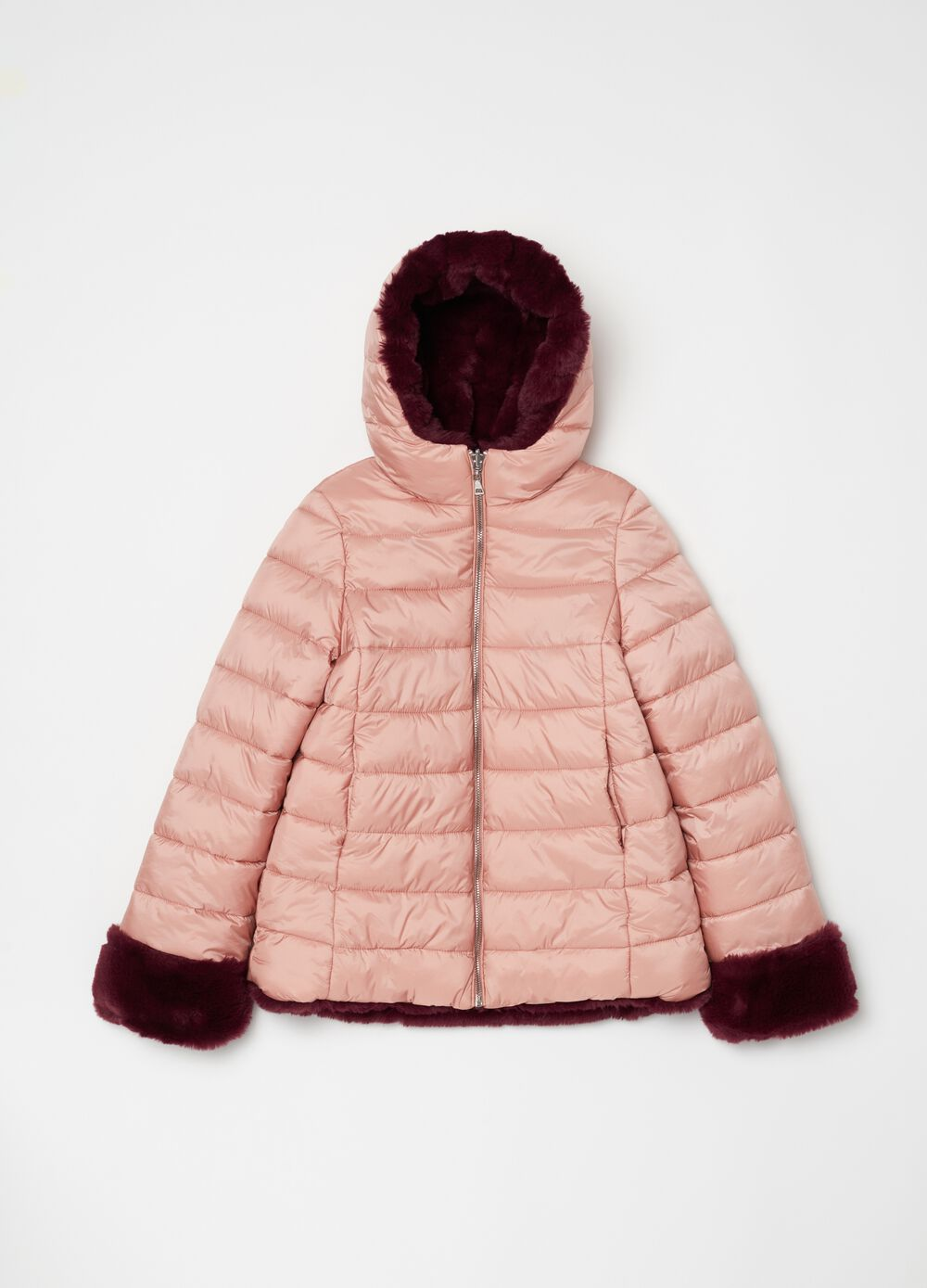 Padded and quilted reversible jacket