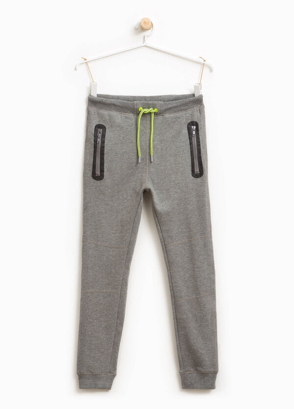 Cotton and viscose joggers with zip | OVS