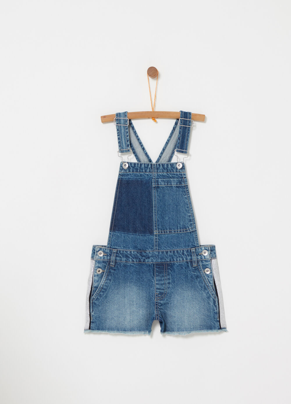 Denim dungarees with pockets and lurex