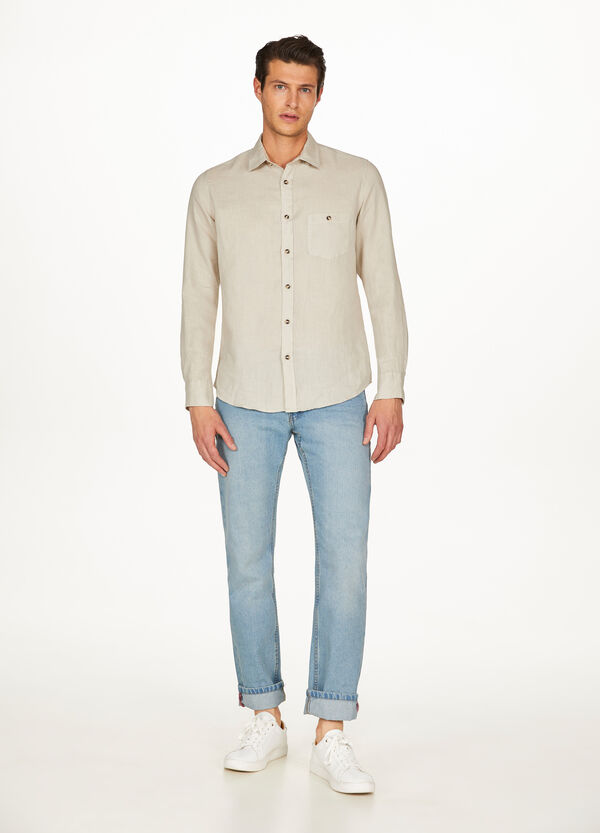 Shirt in 100% linen with pocket