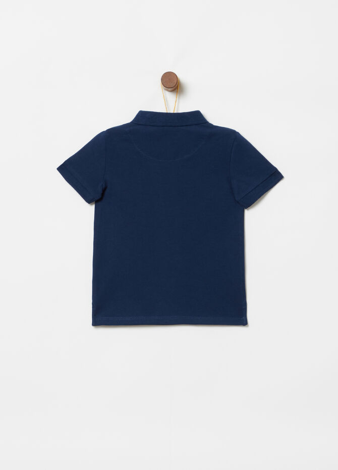 Stretch cotton polo shirt with pocket