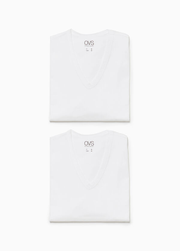 Two-pack jersey under shirts with V neck