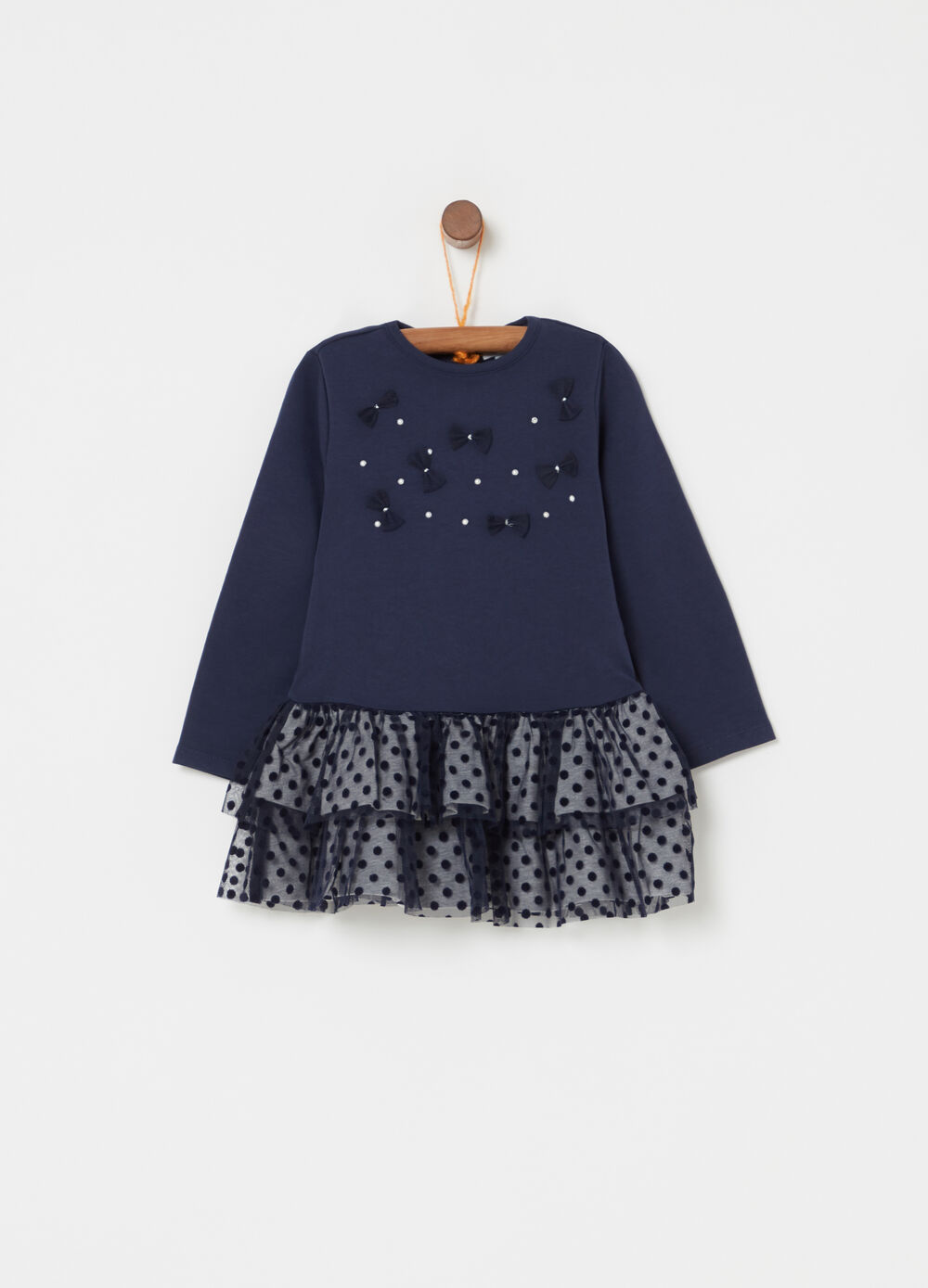 Dress in organic cotton with polka dots and flounces