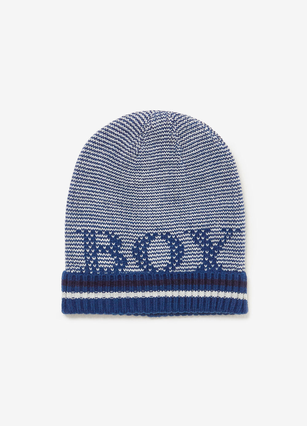 Knitted beanie cap with striped embroidery