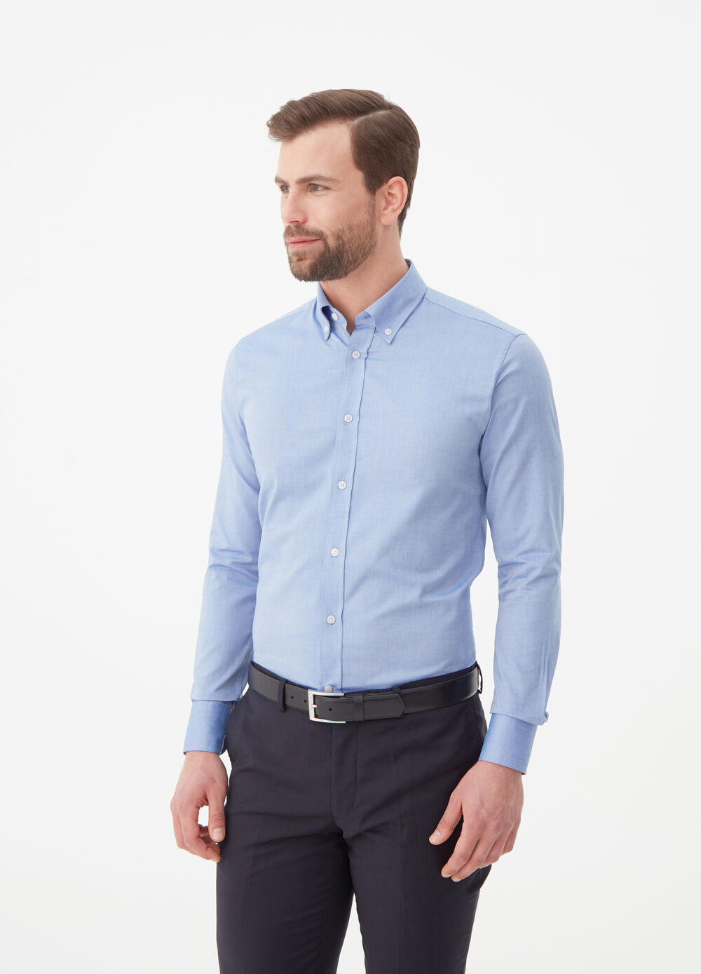 Camicia slim fit puro cotone pin-point