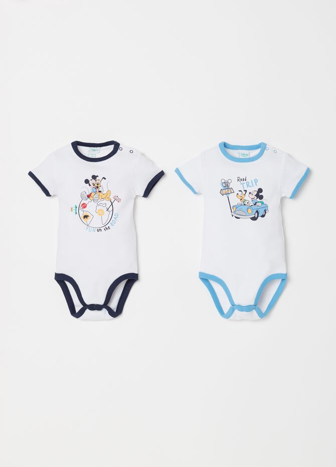 Two-pack Disney Baby bodysuits in ribbed cotton