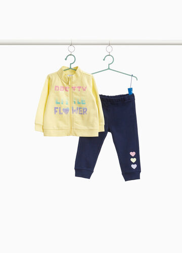 Cotton tracksuit with hearts and lettering print