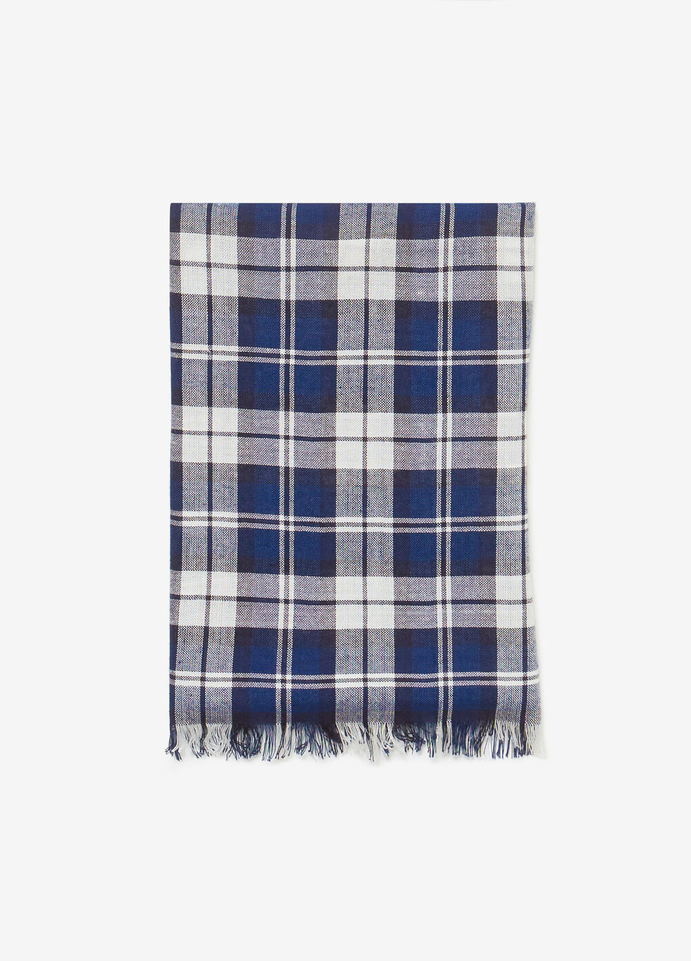 Fringed pashmina with check pattern